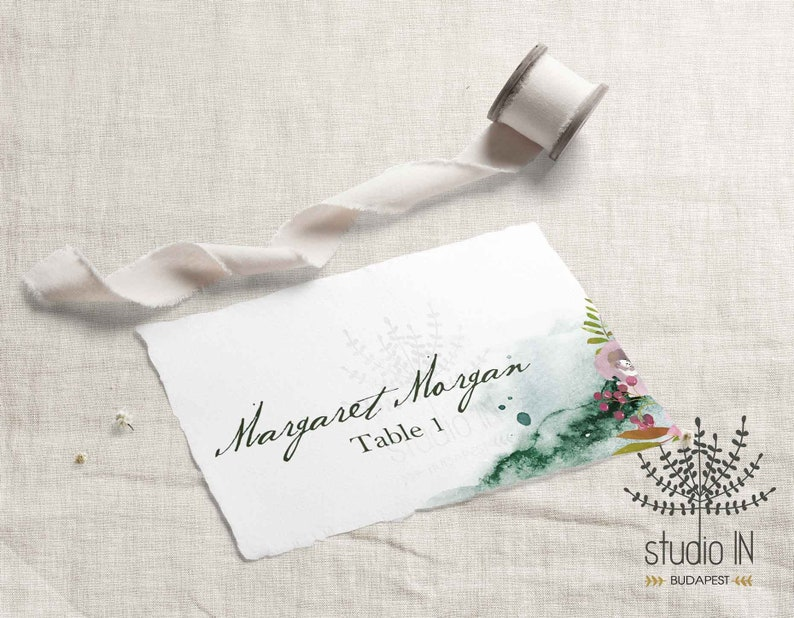 Table Place Card winter wedding floral card template image 1