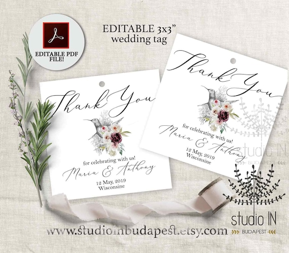 Thank You Tag Wedding Gift Tag Template Wedding Favor Tags Etsy