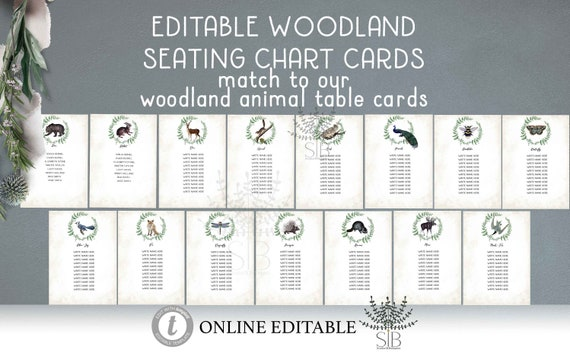 Woodland Animal Seating cards Editable Woodland Seating Plan animal forest Table Assignment Card Hanging Table Cards template