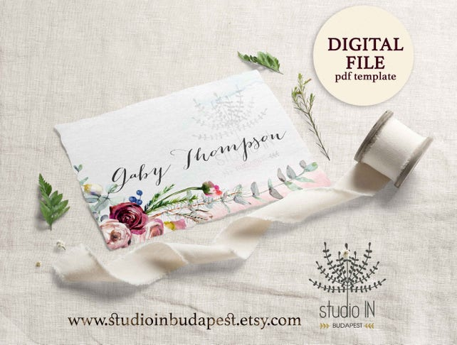 Table Place Card Winter Wedding Floral Card Template Printable