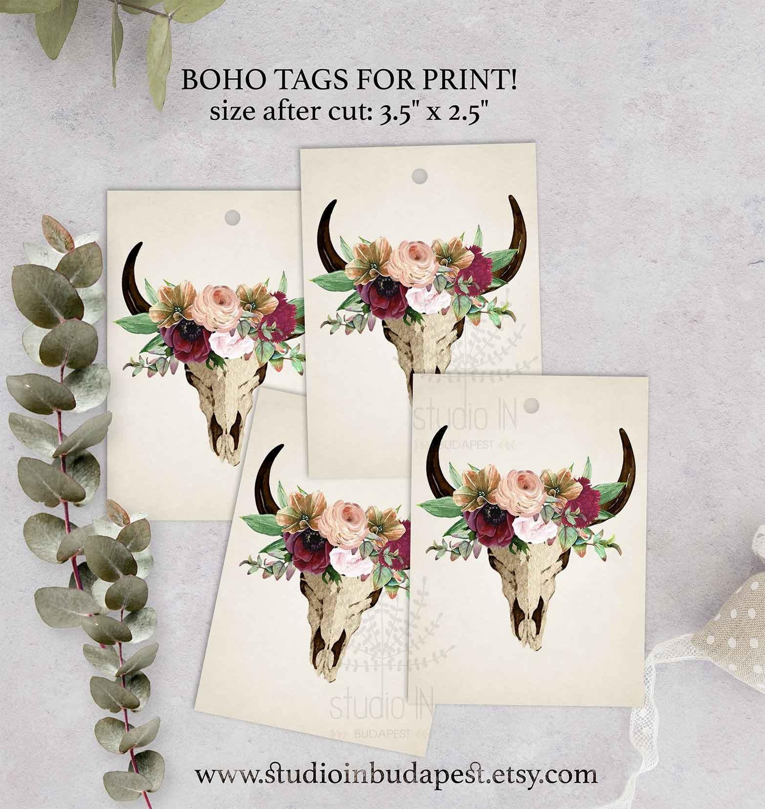 Boho Geschenkanhänger floral Geschenkanhänger druckbare | Etsy