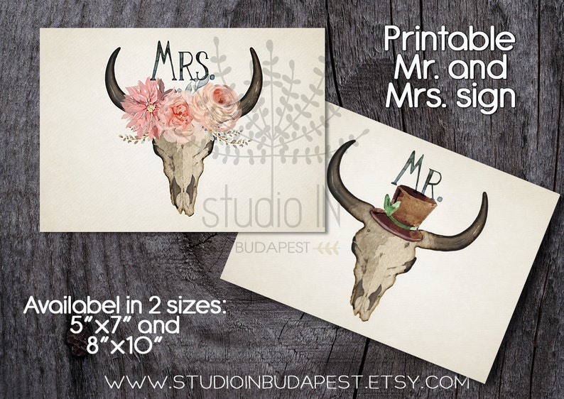 Mr. and Mrs. sign printable wedding Mr. and Mrs. sign image 0