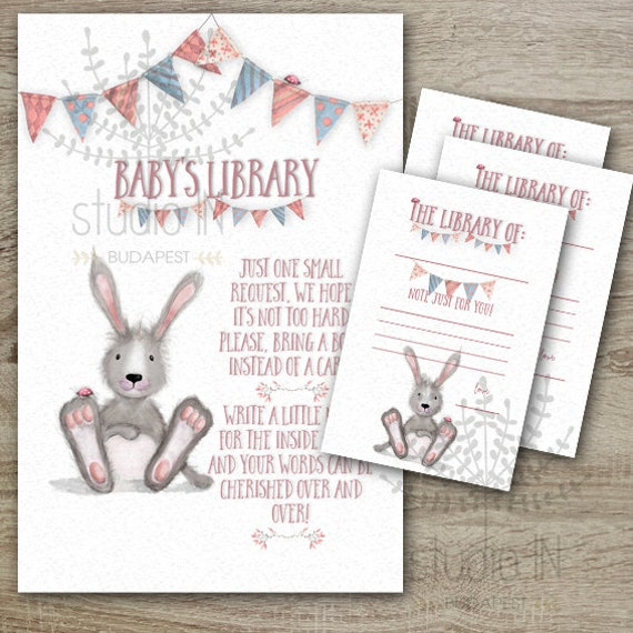 Baby Shower Book Instead Of A Card Inserts With Bookplate Etsy