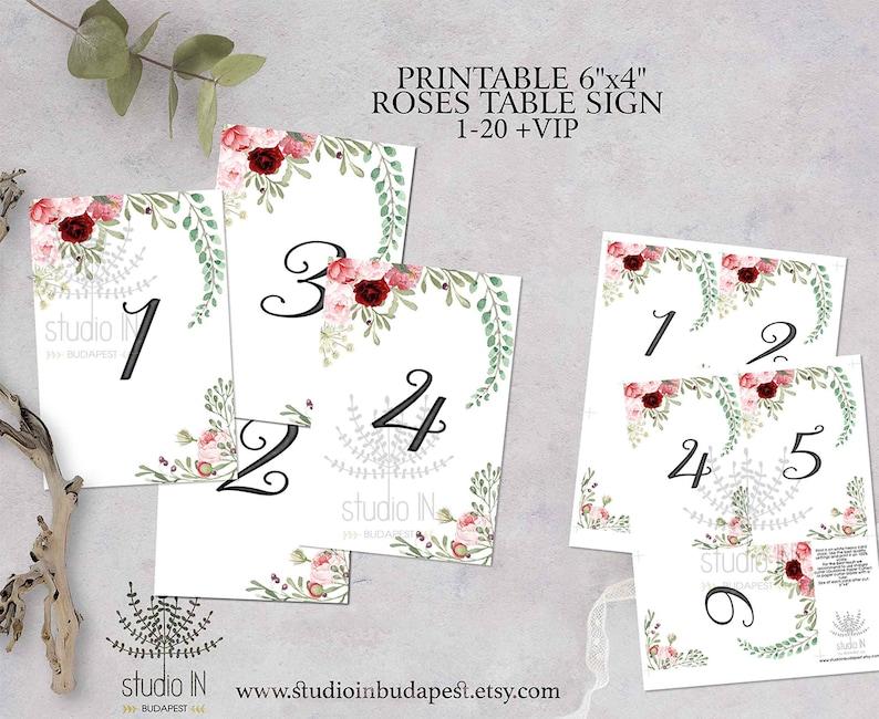 Wedding Table Numbers 1-20 Printable Roses Table Numbers image 0