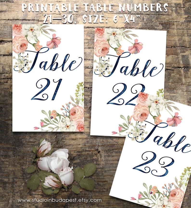 Wedding Table Numbers 20-30 Printable Table Numbers rustic image 0