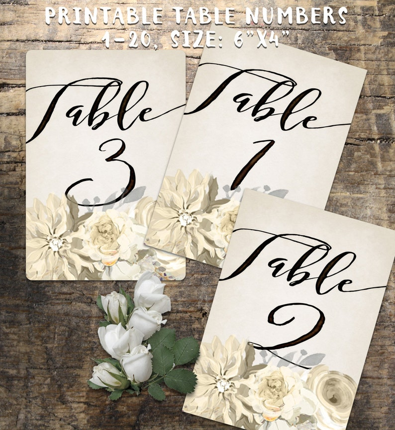 Wedding Table Numbers 1-20 Printable Table Numbers rustic image 0