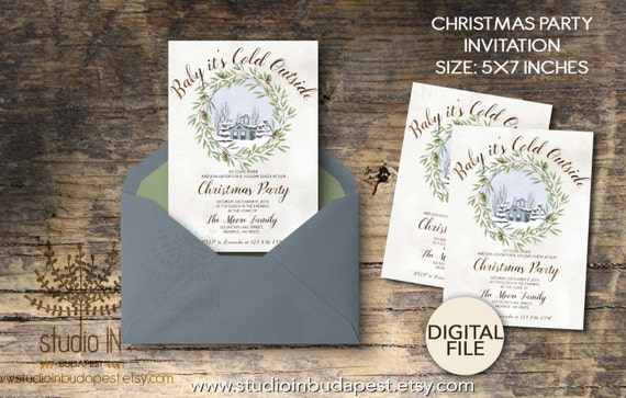 printable christmas invitations christmas party invitations etsy