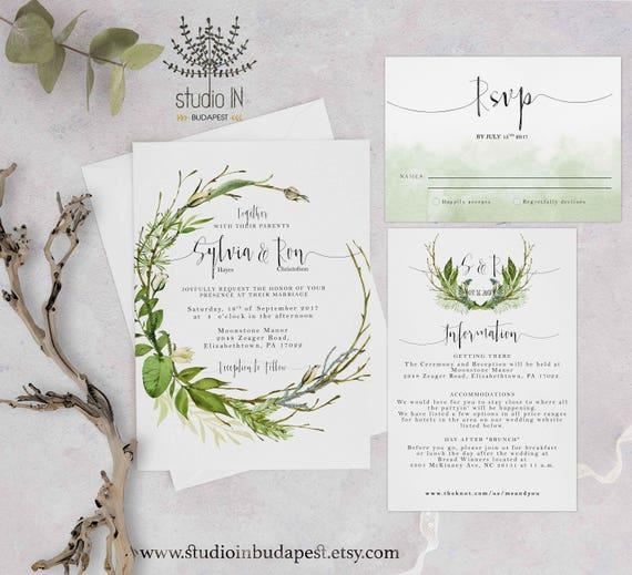 Green Foliage Wedding Invitation Etsy