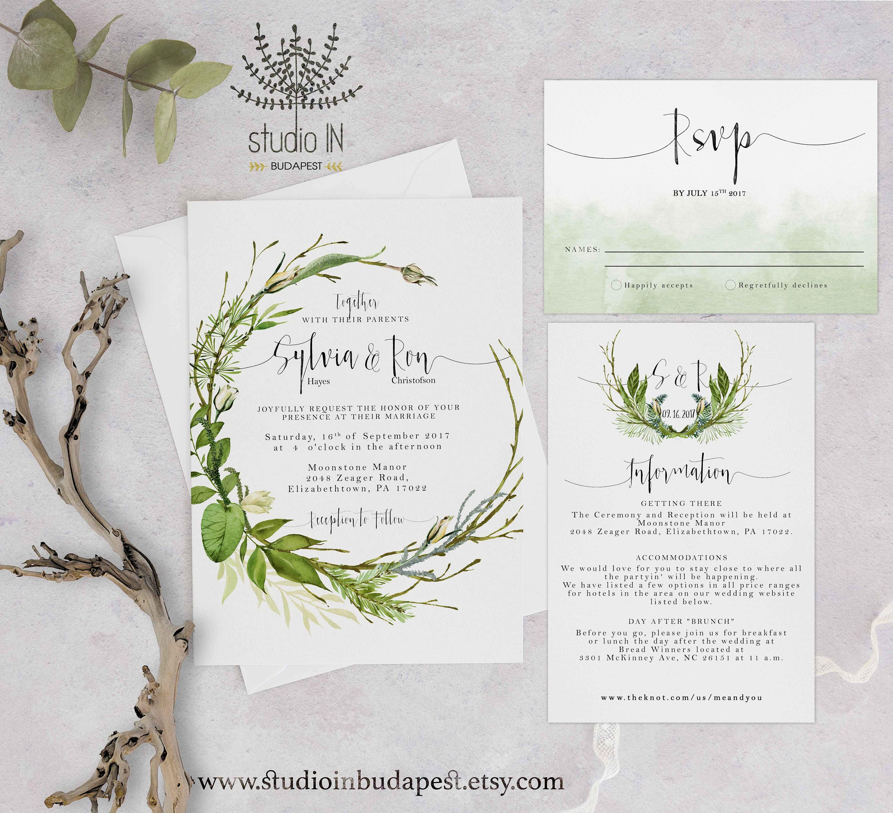 Green Foliage Wedding Invitation Woodland Wedding Invite Etsy