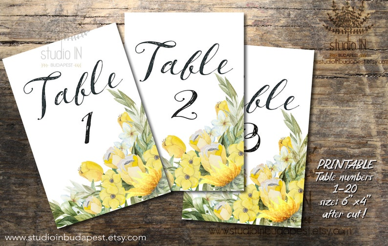 Yellow Wedding Table Numbers 1-20 Printable Table Numbers image 0