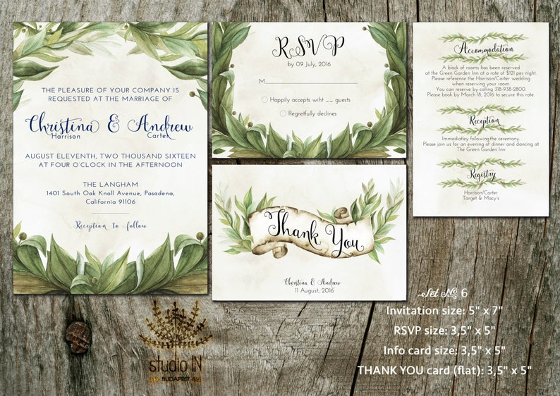 Green Wedding Invitation rustic wedding invite calligraphy image 0
