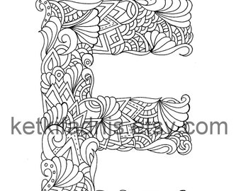 Letter E Coloring page - Instant PDF Download - Alphabet coloring page  - Hand drawn - DIY - Printable Coloring page - Letter illustration