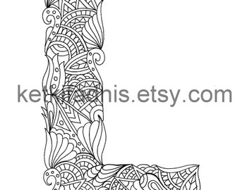 Letter L Coloring page - Instant PDF Download - Alphabet coloring page - Hand drawn - DIY - Printable Coloring page - Letter illustration