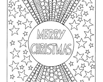 merry christmas coloring page instant pdf download digital download hand drawn diy adult coloring page