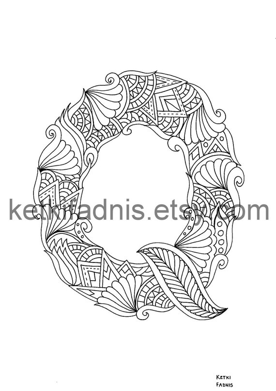 Letter Q Coloring Page Instant PDF Download Alphabet