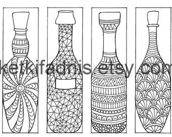 Coloring bookmarks - Bottle bookmarks coloring page - Instant PDF Download - Digital download - Hand drawn - DIY - Coloring page
