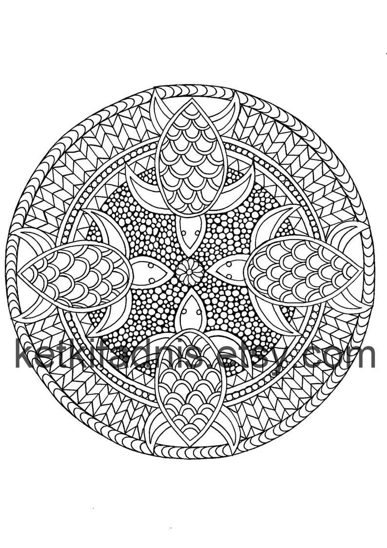 Turtle Mandala Coloring Page Instant Pdf Download Digital Download Hand Drawn Diy Coloring Page