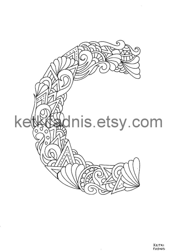 Letter C Coloring page - Instant PDF Download - Alphabet coloring page - Hand drawn - DIY - Printable Coloring page - Letter illustration