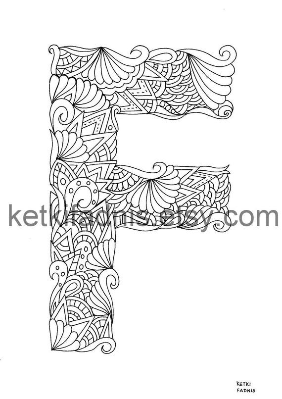 Ilustración de letra F para colorear de página Instant PDF | Etsy