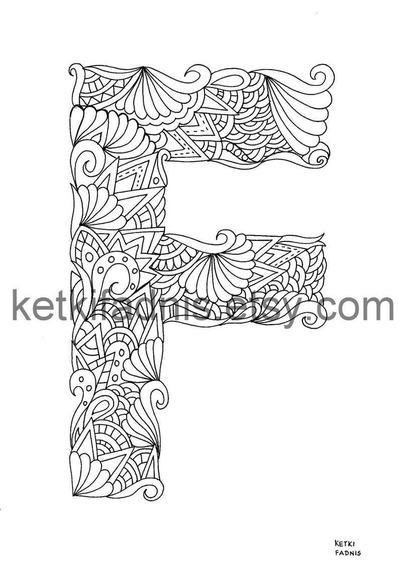 Letter f coloring page instant pdf download alphabet coloring page hand drawn diy printable coloring page letter illustration
