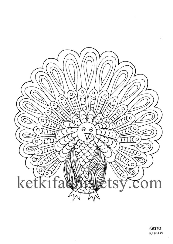 Turkey  Thanksgiving  Coloring page  Instant PDF Download