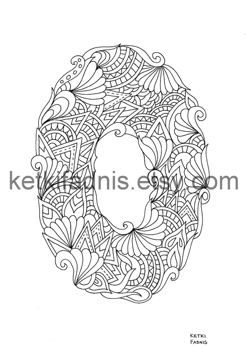 Letter o coloring page instant pdf download alphabet coloring page hand drawn diy printable coloring page letter illustration