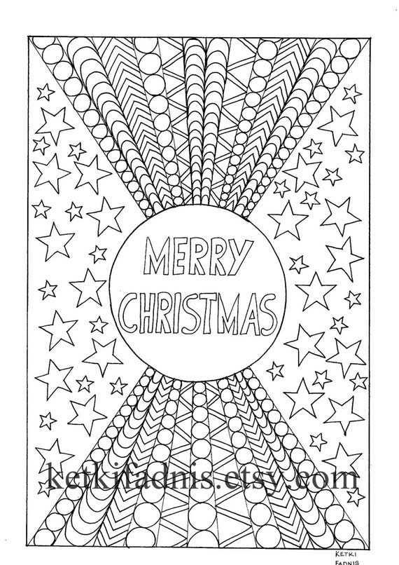 Merry Christmas Coloring Page Instant Pdf Download Digital Etsy