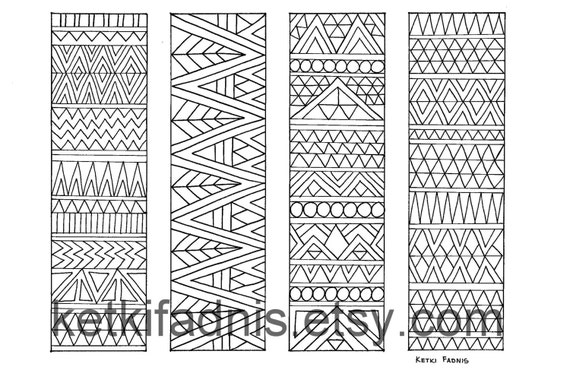 c5c900c83ed855 Coloring bookmarks Aztec print bookmarks coloring page | Etsy