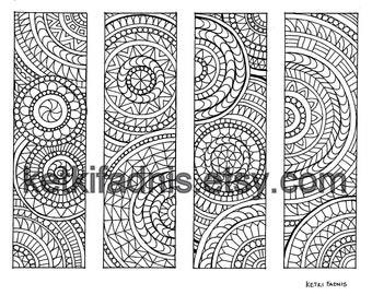 Coloring bookmarks - Mandala bookmarks coloring page - Instant PDF Download - Digital download - Hand drawn - DIY - Coloring page