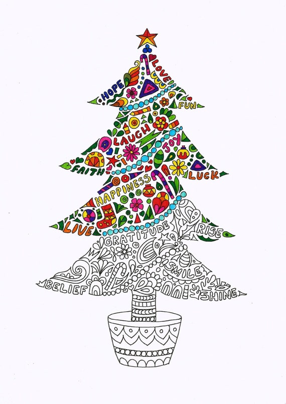Christmas tree Coloring page - Instant PDF Download - Digital download -  Hand drawn - DIY - Coloring page