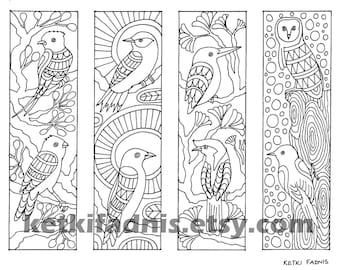 Coloring bookmarks - Birds bookmarks coloring page - Instant PDF Download - Digital download - Hand drawn - DIY - Coloring page