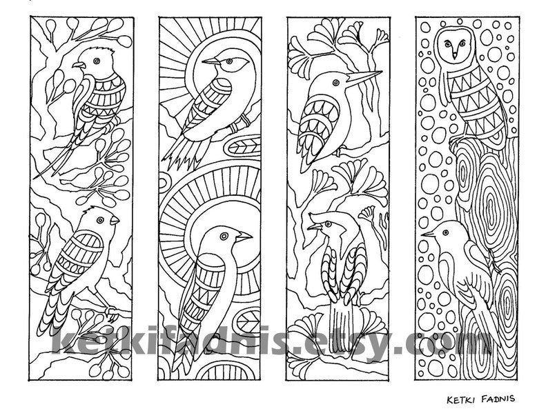 Coloring bookmarks Birds bookmarks coloring page Instant | Etsy