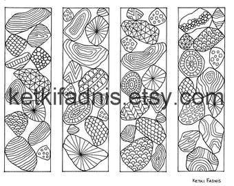 Coloring Bookmarks - Stones Abstract design - PDF Download - Bookmarks to color - Digital download - Hand drawn - DIY - Coloring page
