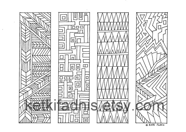 Coloring Bookmarks Lines PDF Download Geometric | Etsy