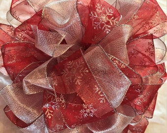 Giant Ribbon Christmas/Holiday Tree Topper Bows with Streamers- Large Selection