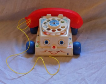 Reduced Price! 1980's Fisher Price #747 Chatter Phone pull toy FPT2489