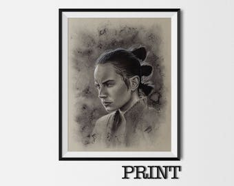 """11.69"""" x 16.53"""" print of Rey in charcoal on grey card"""
