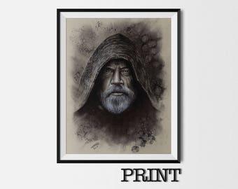 "11.69"" x 16.53"" print of Luke Skywalker in charcoal on grey card"