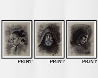 """11.69"""" x 16.53"""" prints of Rey, Luke and Kylo Ren originally drawn in charcoal on grey card"""