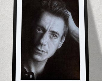 """11.69"""" x 16.53"""" drawing of Robert Downey Jr in graphite on Bristol paper"""
