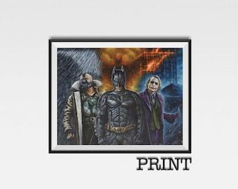 "11.69"" x 16.53"" print of Dark Knight trilogy originally hand painted on art board"
