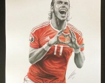 Gareth Bale Welsh Footballer Drawing A3 Print.
