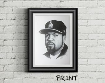 "8.27"" x 11.69"" print of Ice Cube originally hand drawn in black ballpoint pen on cartridge paper"