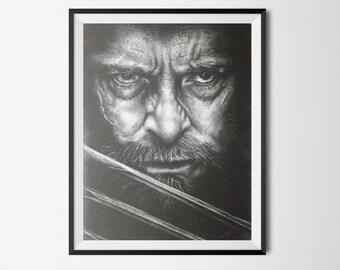 Print of Hugh Jackman as Logan drawn in charcoal