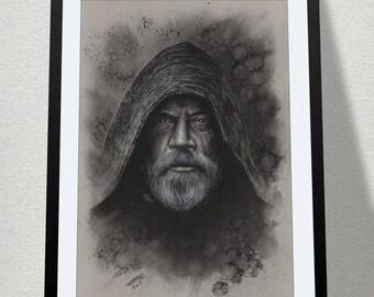 "11.69"" x 16.53"" drawing of Luke Skywalker in charcoal on grey card"