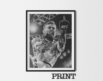 """11.69"""" x 16.53"""" print of Conor McGregor Charcoal originally hand drawn in charcoal on Cartridge paper."""