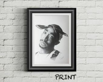 "8.27"" × 11.69"" print of Tupac Shakur originally hand drawn in black ballpoint pen on cartridge paper"