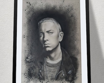 """11.69"""" x 16.53"""" drawing of Eminem in charcoal on grey card"""