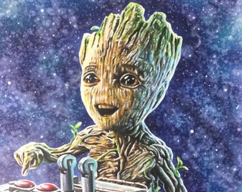 Baby Groot drawn in Copic marker on A3 cartridge paper.