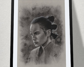 """11.69"""" x 16.53"""" drawing of Rey in charcoal on grey card"""